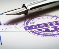 Quality control approved stamp and signature with fountain pen. Conceptual 3D illustration of quality audit and product conformity.